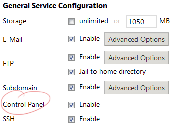 New feature to permit/deny control panel access for users.