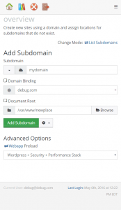 Application install via Web > Add Subdomains
